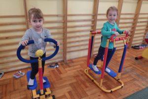 Kotki testują nowe sprzęty na sali gimnastycznej