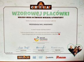 """#certyfikatwzorowejplacówki- """" Tygryski"""""""